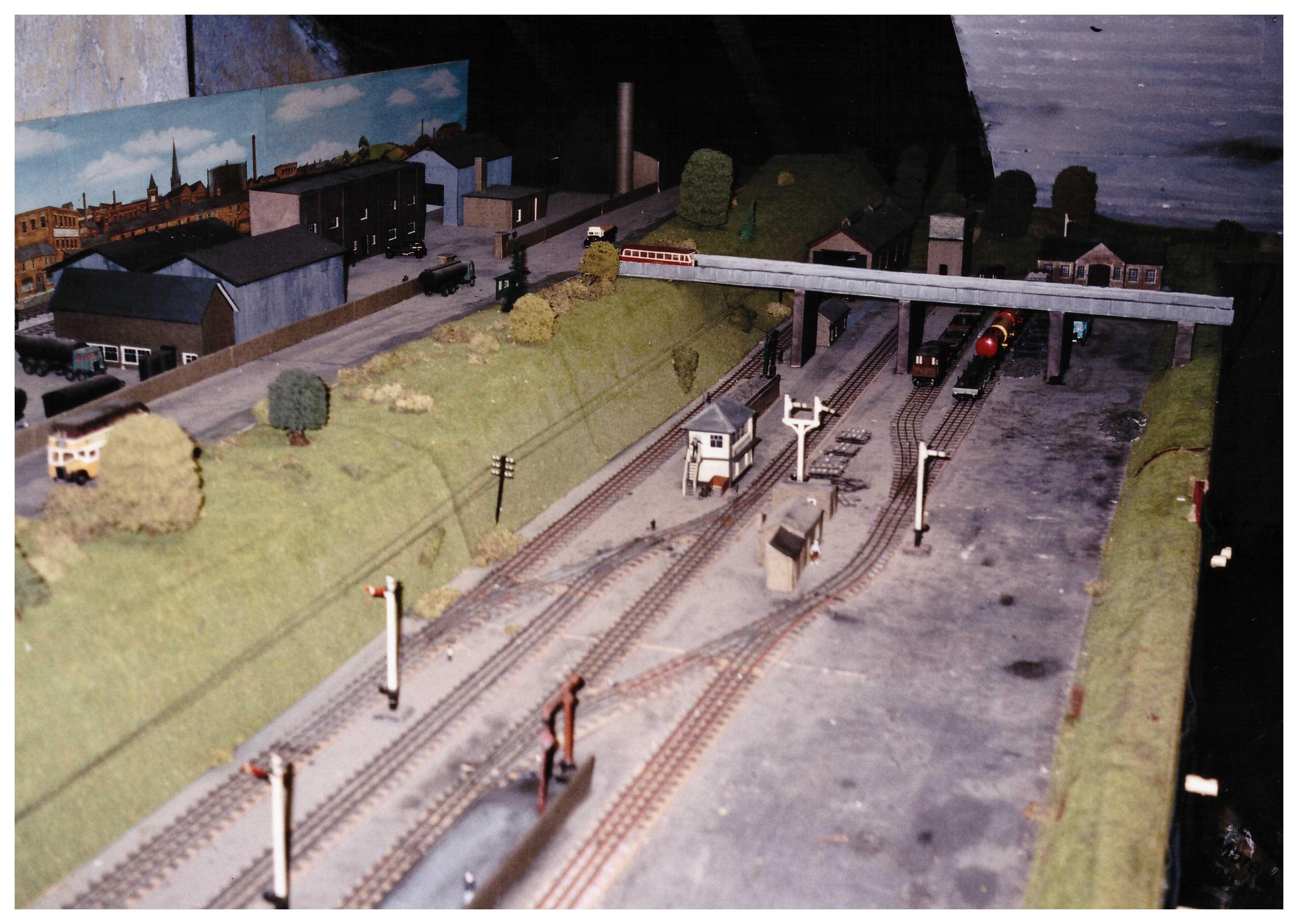 Road overbridge with engineering works above